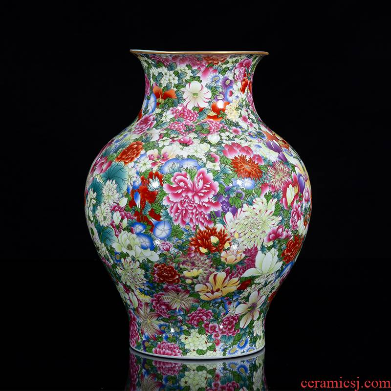 Jia he master of jingdezhen ceramic palace complex moment YangShiQi and the qing qianlong ocean color flower is not open bottle