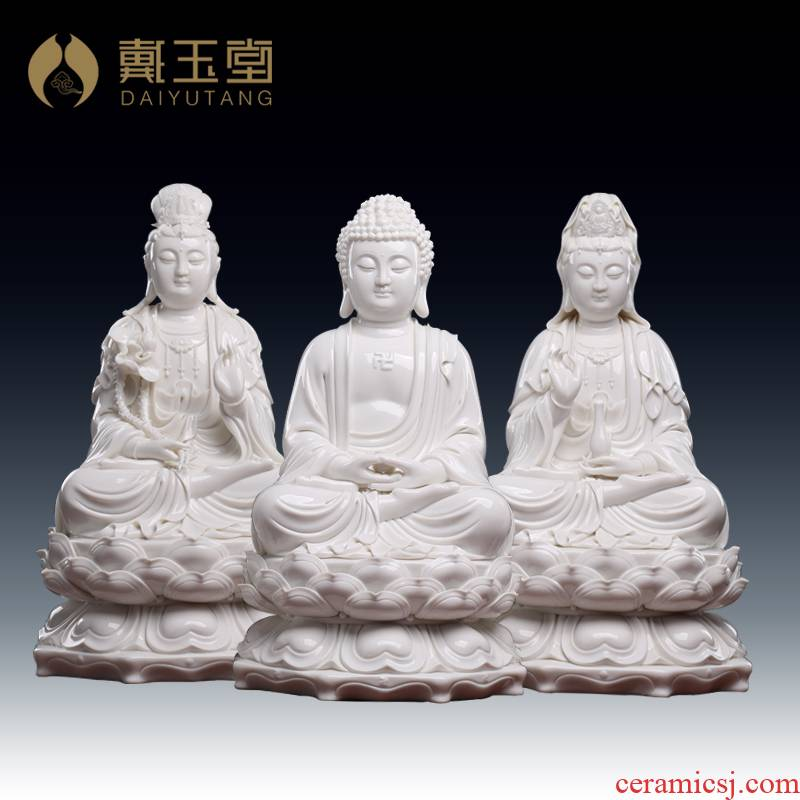 Yutang dai dehua white porcelain three western spirit like three holy Buddha avalokiteshvara smiling Buddha