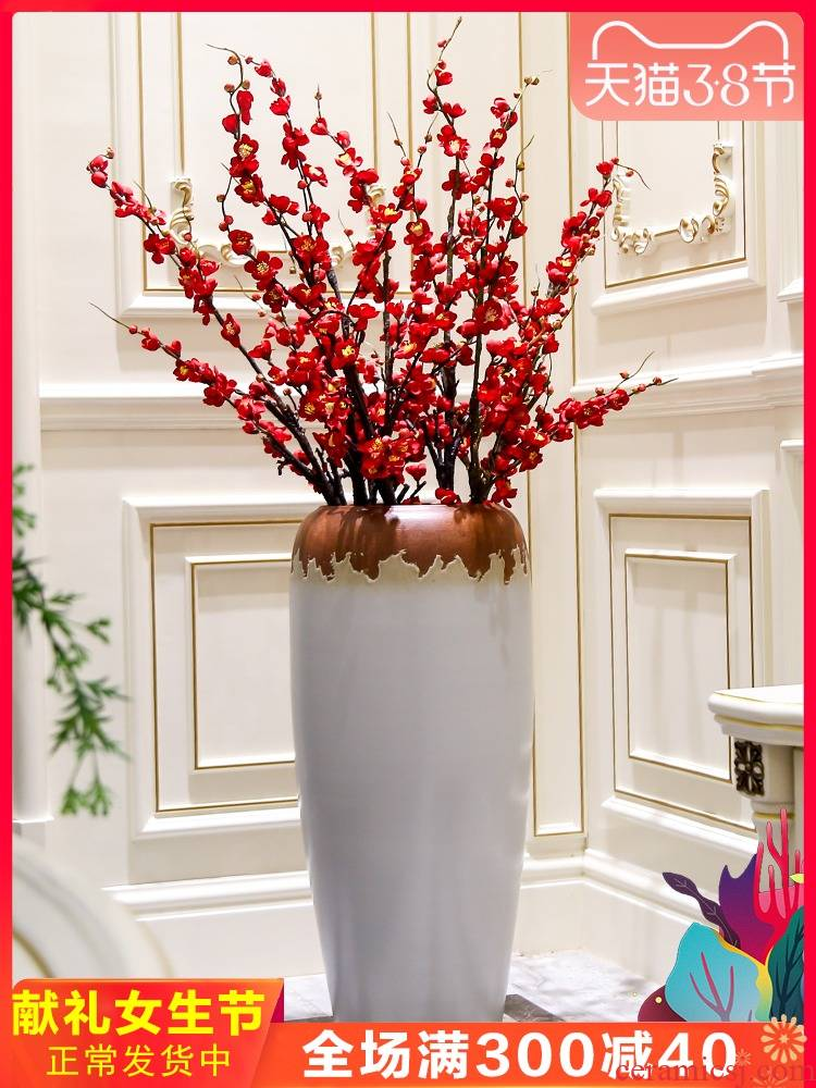 Jingdezhen ceramic floor big vase Nordic I and contracted sitting room the bedroom the flower, flower arrangement, adornment is placed