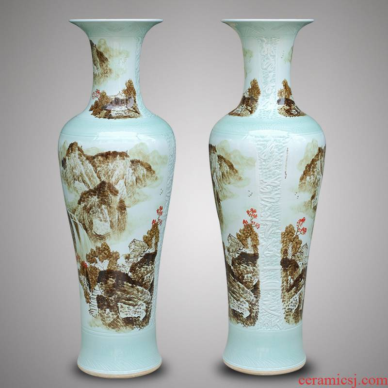 Jingdezhen ceramics large hand - made landscape of large vases, modern Chinese style living room TV cabinet furnishing articles