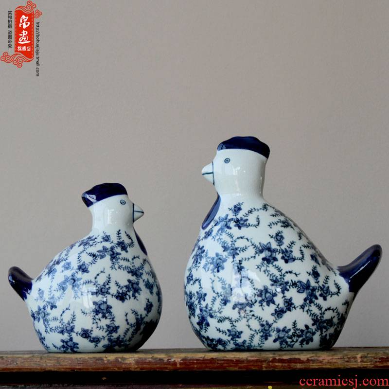 Chinese style household ceramic decoration process blue and white chicken propitious to chickens living room TV ark adornment furnishing articles