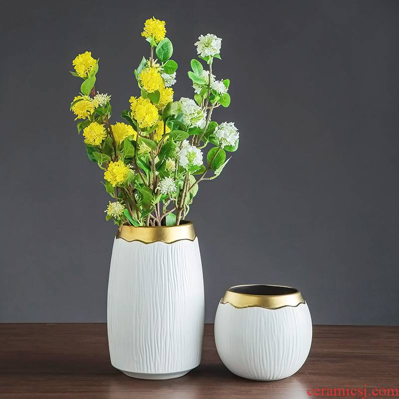 I and contracted place jingdezhen ceramic vase living room table flower arranging retro decoration TV ark, dried flowers, flowers