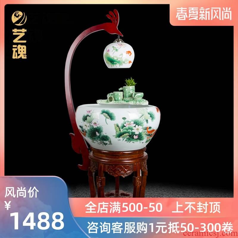 Jingdezhen ceramic aquarium fountain loop filter aerobic basin goldfish bowl lotus cylinder aquarium ceramic fortune sitting room
