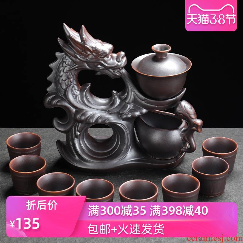 Poly real sheng lazy people make tea tea service automatically suit household water ceramic kung fu tea teapot tea cups
