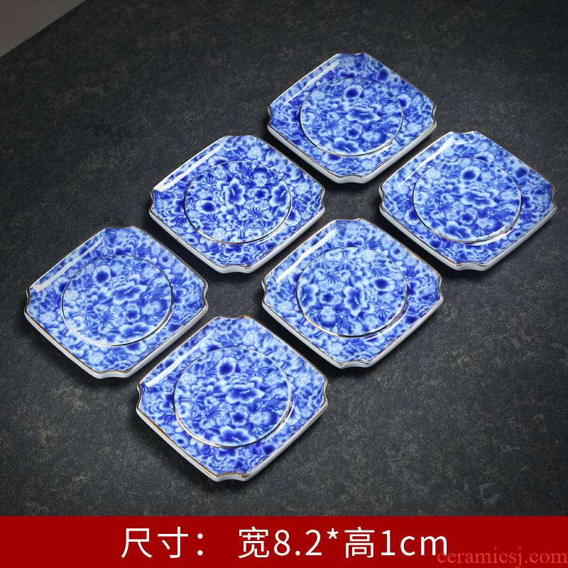 The Blue cup holder coasters tea accessories Japanese ceramic pot mat pot bearing insulation eat mat kung fu tea set to restore ancient ways