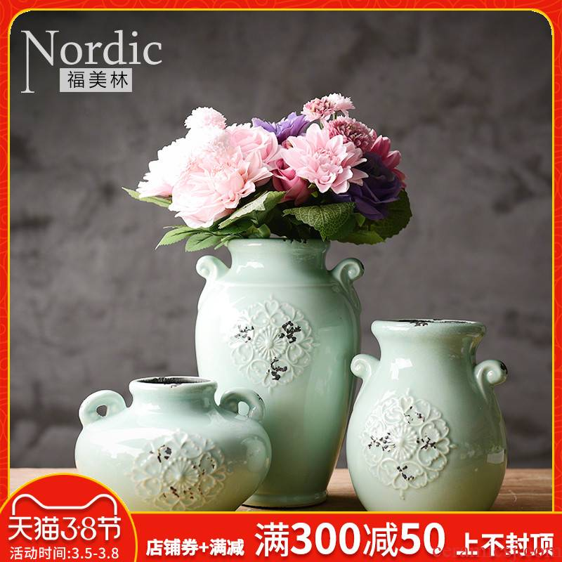 American ceramic vase three - piece restoring ancient ways the sitting room TV ark, household act the role ofing is tasted furnishing articles desktop dried flower flower, flower art
