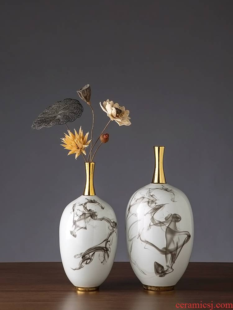 Jingdezhen ceramic vase furnishing articles sitting room dry flower arranging flowers ink Chinese style household adornment simulation flower narrow with my expressions using