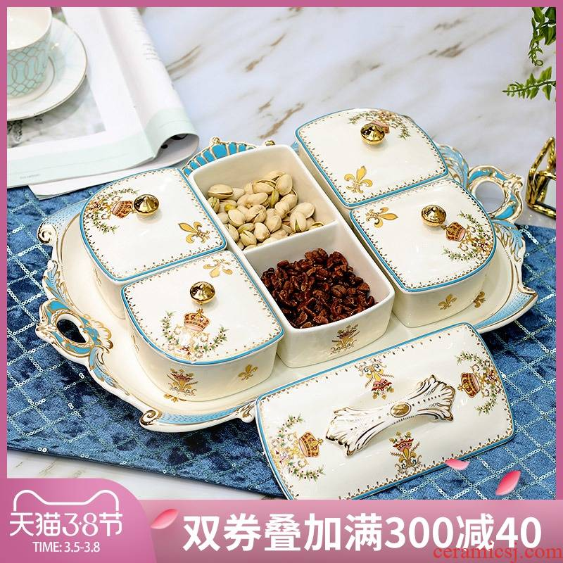 European ceramic dry fruit tray frame with cover candy dish snack dish sitting room tea table decoration furnishing articles of fruit tray