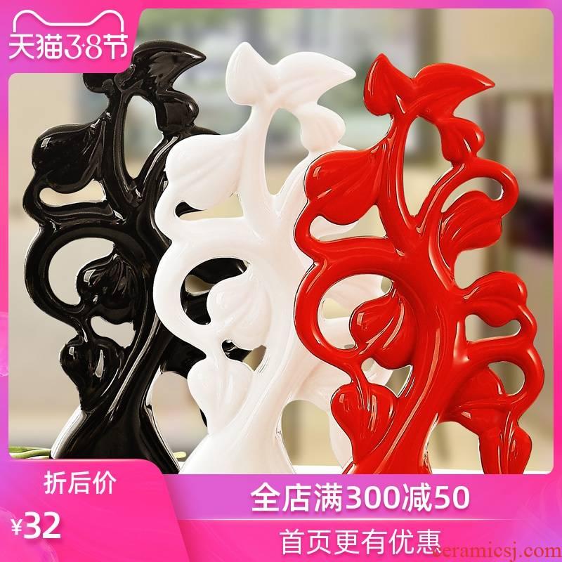 Ideas of modern household furnishing articles ceramic handicraft wedding gift TV ark, furnishing articles rich tree leaves
