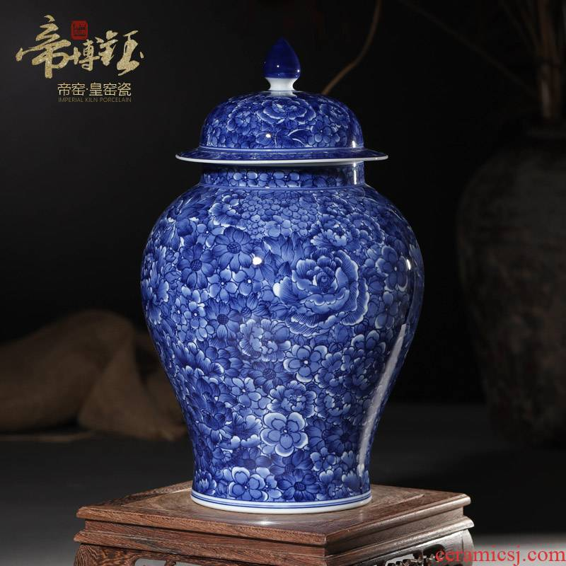 Jingdezhen blue and white flower general antique hand - made ceramic tea cover pot sitting room study home decoration furnishing articles