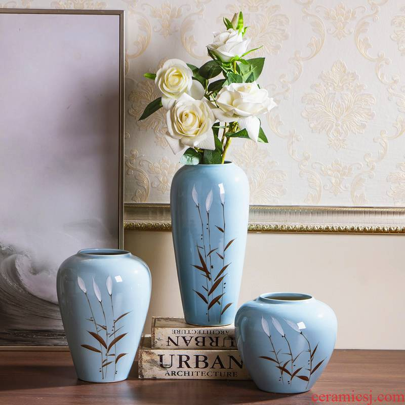 Jingdezhen ceramic vase furnishing articles dried flowers flower arrangement of I sitting room is contracted originality of new Chinese style household ornaments