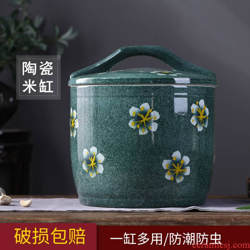 Barrel of jingdezhen ceramics with cover household rice storage box sealing insect - resistant 10/20 jin pickles jar of flour ricer box