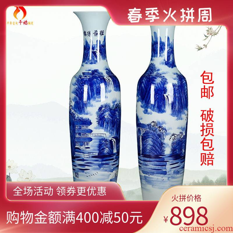Thousands of flame jingdezhen ceramics of large hand blue and white porcelain vase landscape bright future for the opening place hotel