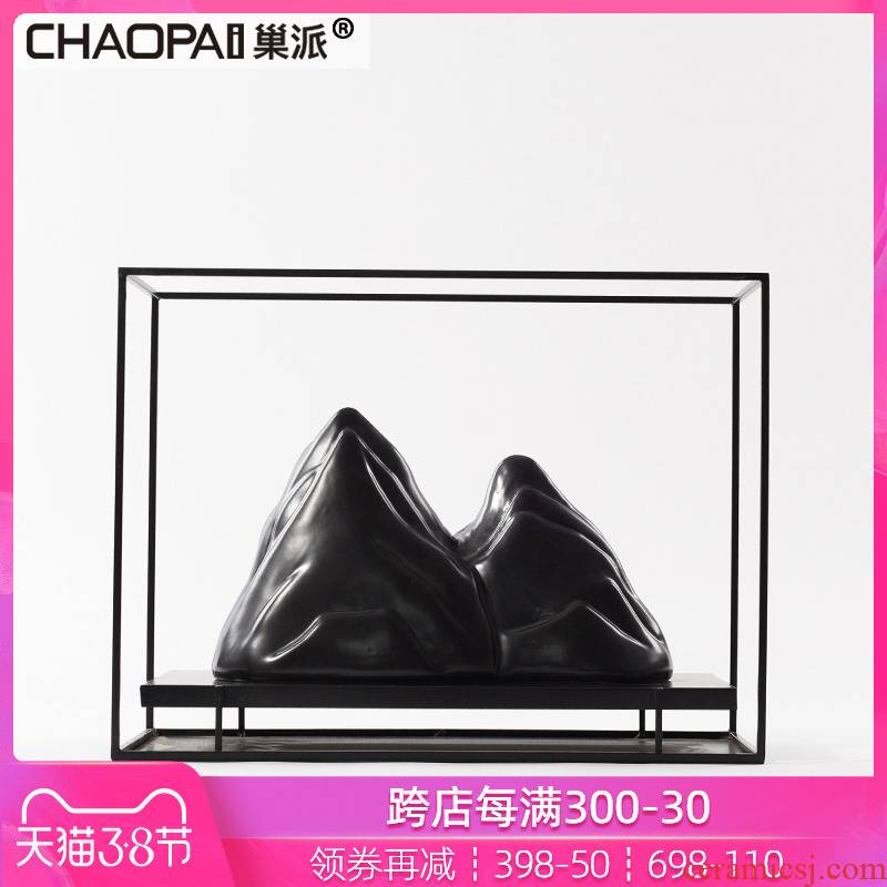 New Chinese style example room micro landscape mountain furnishing articles sitting room porch feel rockery creative soft outfit ceramics handicraft