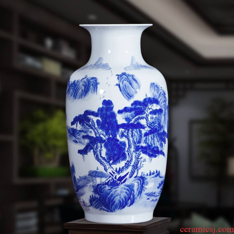 Jingdezhen ceramics landscape painting large Chinese blue and white porcelain vase study ground adornment office furnishing articles