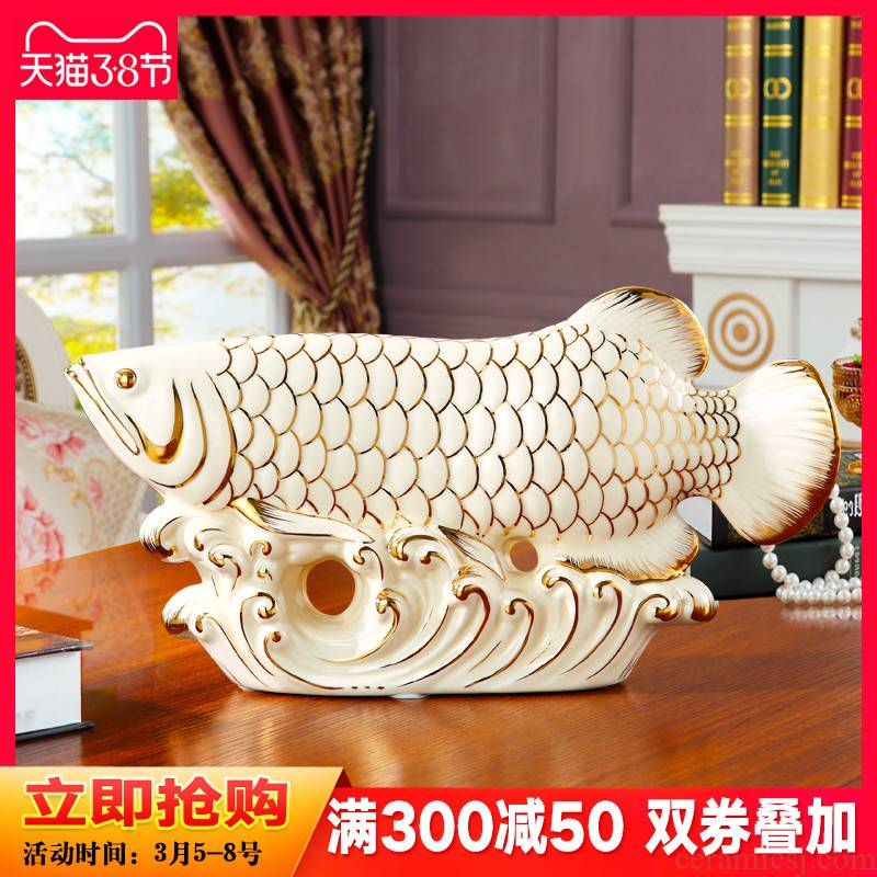 Lucky gold dragon fish and furnishing articles sitting room adornment wine porch TV ark, European - style home decoration ceramics handicraft