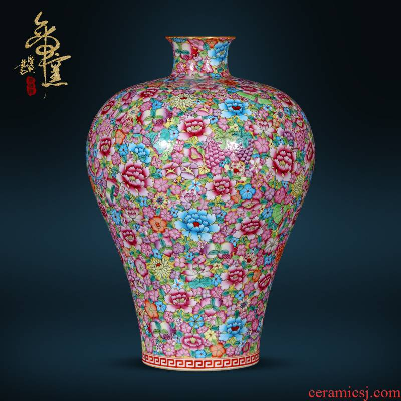 Jingdezhen ceramic imitation the qing qianlong hand - made flower name plum bottle of Chinese style living room TV ark, flower arranging porch is decorated furnishing articles