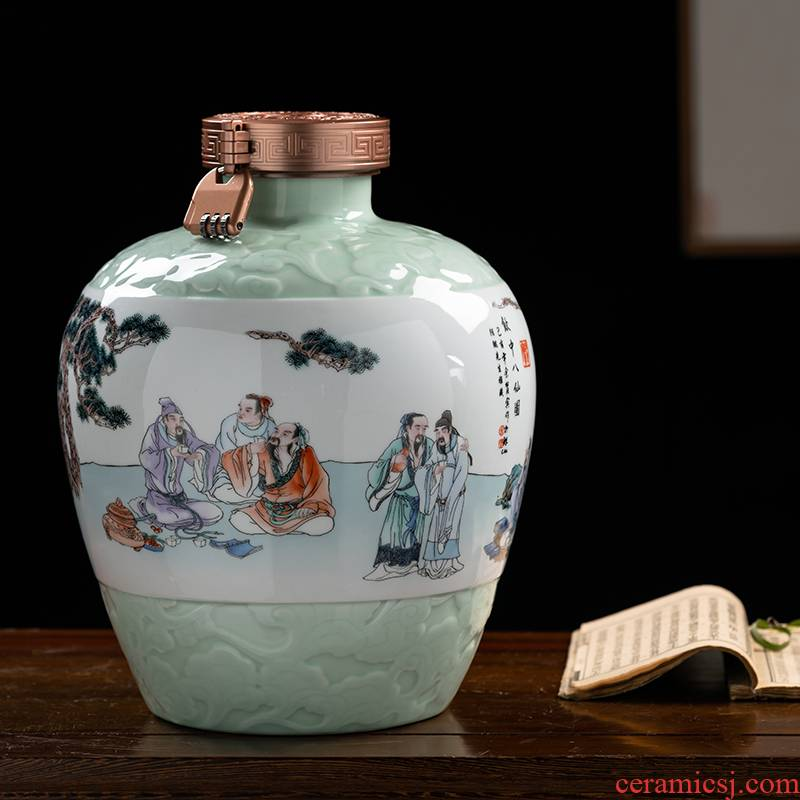 Jingdezhen ceramic terms jars altar wine 5 jins of 10 jins 20 jins archaize creative bottles household hip flask custom