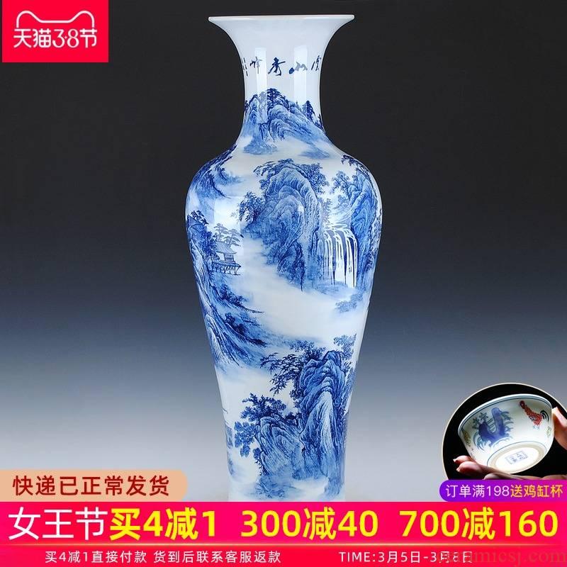 Jingdezhen ceramics landing large blue and white porcelain vase under glaze color porcelain I sitting room hotel decoration is 1 m
