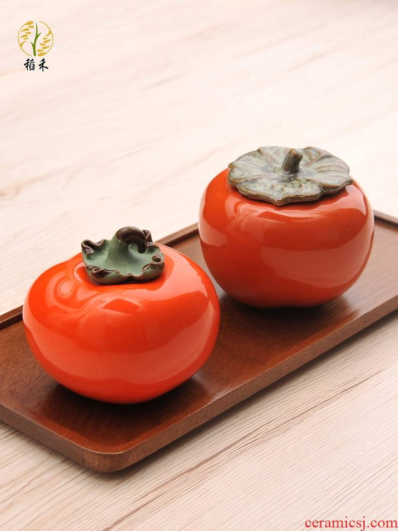 Creative ceramic persimmon home sitting room tea table decoration small place caddy fixings mini decoration wedding wedding gift