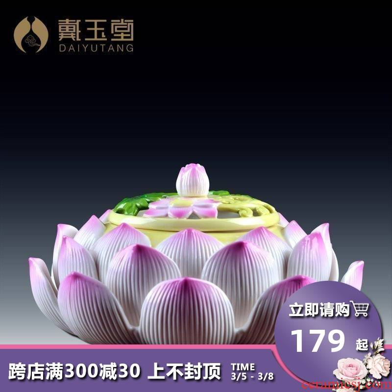Yutang dai dehua ceramic painting lotus censer incense inserted furnishing articles to Buddhism indoor to suit
