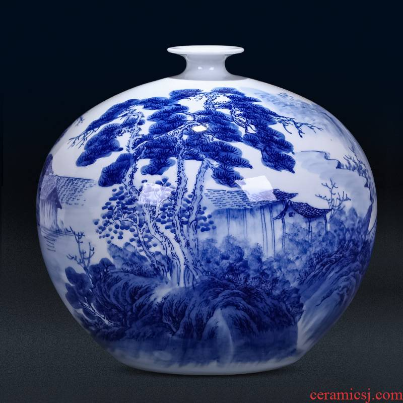 Jingdezhen ceramics by hand draw blue and white porcelain vases, flower arrangement large antique Chinese ancient frame is placed in the living room