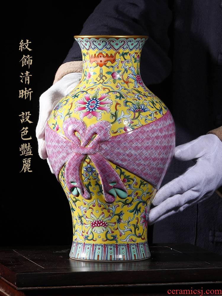 Jia lage jingdezhen Chinese style restoring ancient ways vase YangShiQi archaize the qing qianlong pastel flowers baggage ceramic bottle