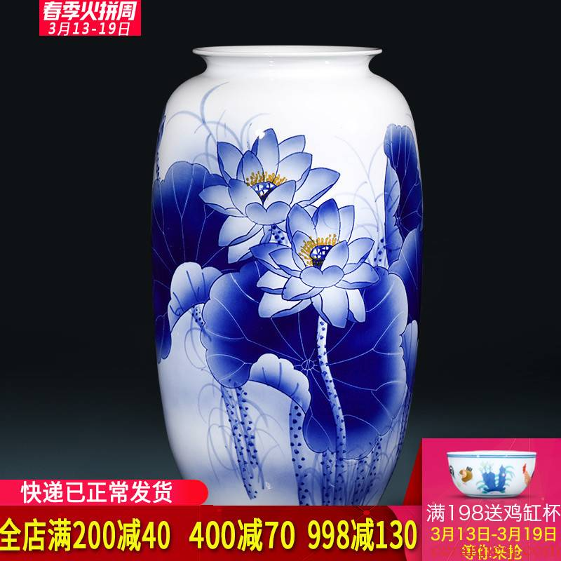 The Master of jingdezhen ceramics hand - made of blue and white porcelain vases, flower arrangement large sitting room adornment of new Chinese style furnishing articles