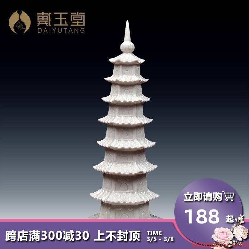 Yutang dai home furnishing articles dehua white porcelain ceramic layer 7 wenchang tower office study academic decorations in the college entrance examination