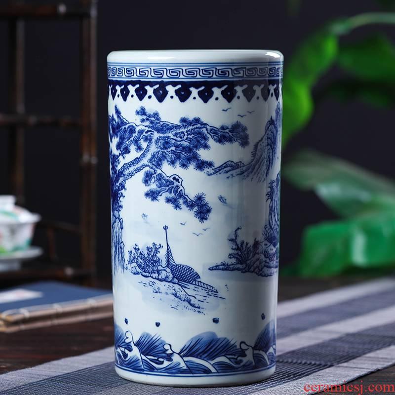 Jingdezhen ceramic vase straight desktop furnishing articles sitting room be born straight hydroponic flower adornment mesa vase