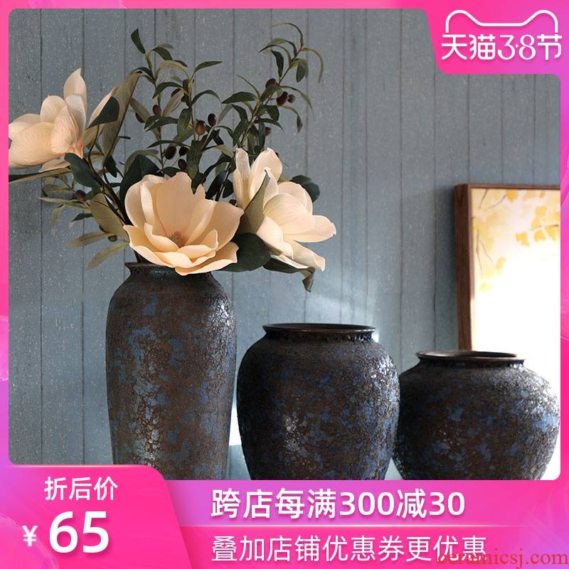 Art show to restore ancient ways do old coarse some ceramic pottery jar porcelain vase household Nordic sitting room adornment floral suit furnishing articles