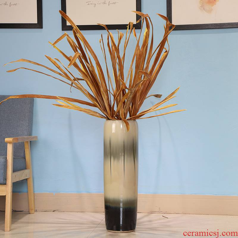 Nordic contracted and I ceramic floor vases, flower arranging flower art living room style suit place black and white ash