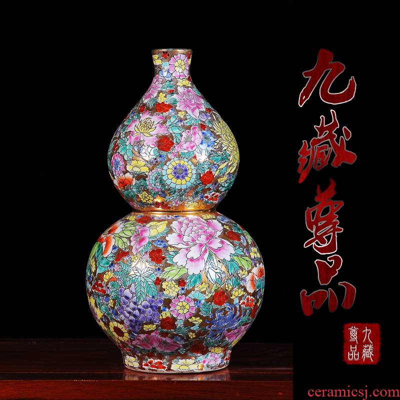 Jingdezhen ceramics craft collection sitting room place, qianlong colored enamel paint flower vases, flower, the celestial sphere