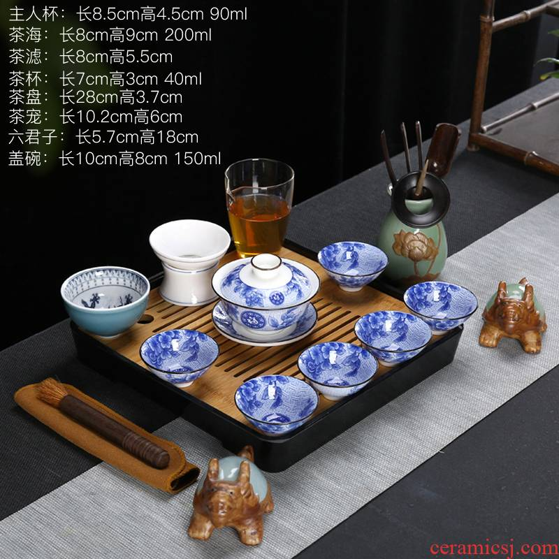 Suet jade porcelain tea sets tea tray household contracted white porcelain ceramic kung fu tea tea cups of a complete set of gift box