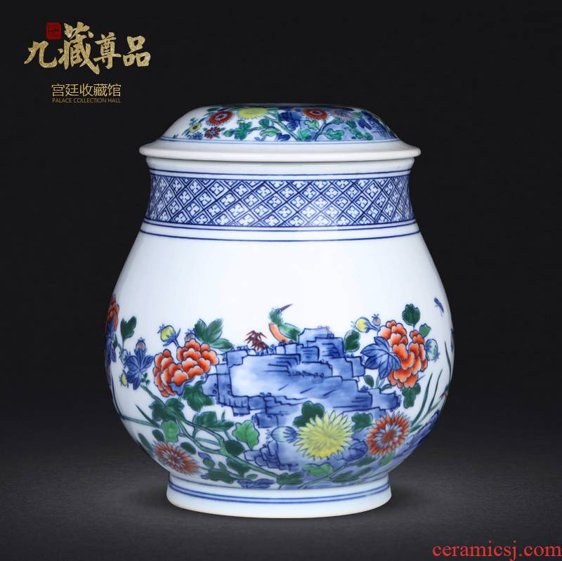 Jingdezhen ceramics hand - made bucket color painting of flowers and tea canister to study home sitting room adornment handicraft furnishing articles