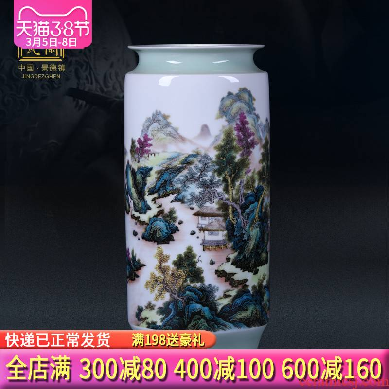 Jingdezhen ceramics green glaze landscape painting and calligraphy cylinder quiver scroll cylinder large vases, study of office furnishing articles