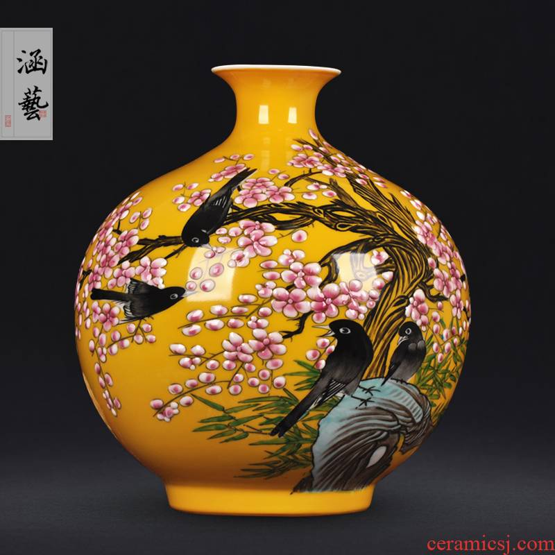 Jingdezhen ceramics hand - made painting of flowers and pomegranate living room flower vase household arts and crafts porcelain bottle furnishing articles