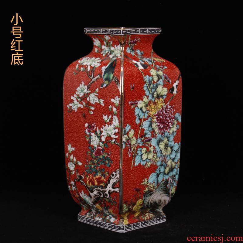 Jingdezhen imitation the qing qianlong style antique vintage colored enamel square bottle of Chinese style restoring ancient ways home furnishing articles of handicraft