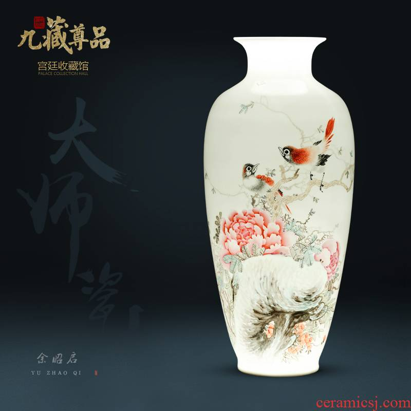 Jingdezhen ceramics hand - made enamel vase Chinese style living room home TV ark, rich ancient frame flower adornment furnishing articles