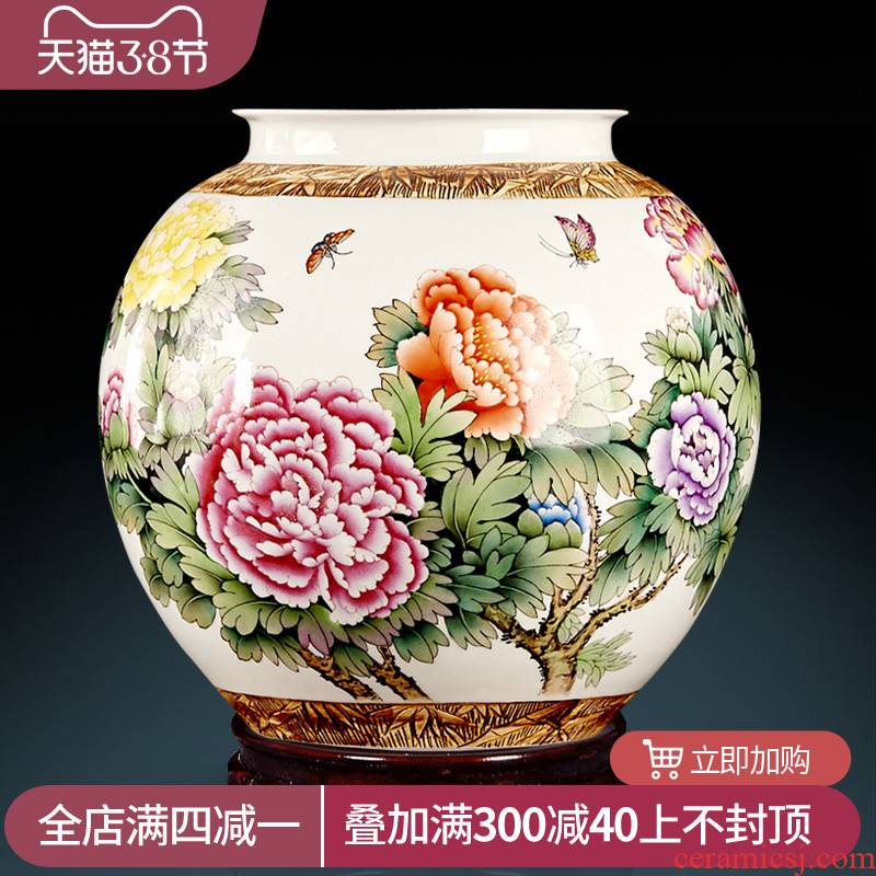 Jingdezhen ceramic furnishing articles by hand - made powder enamel vase blooming flowers large pot of Chinese handicraft decoration in the living room