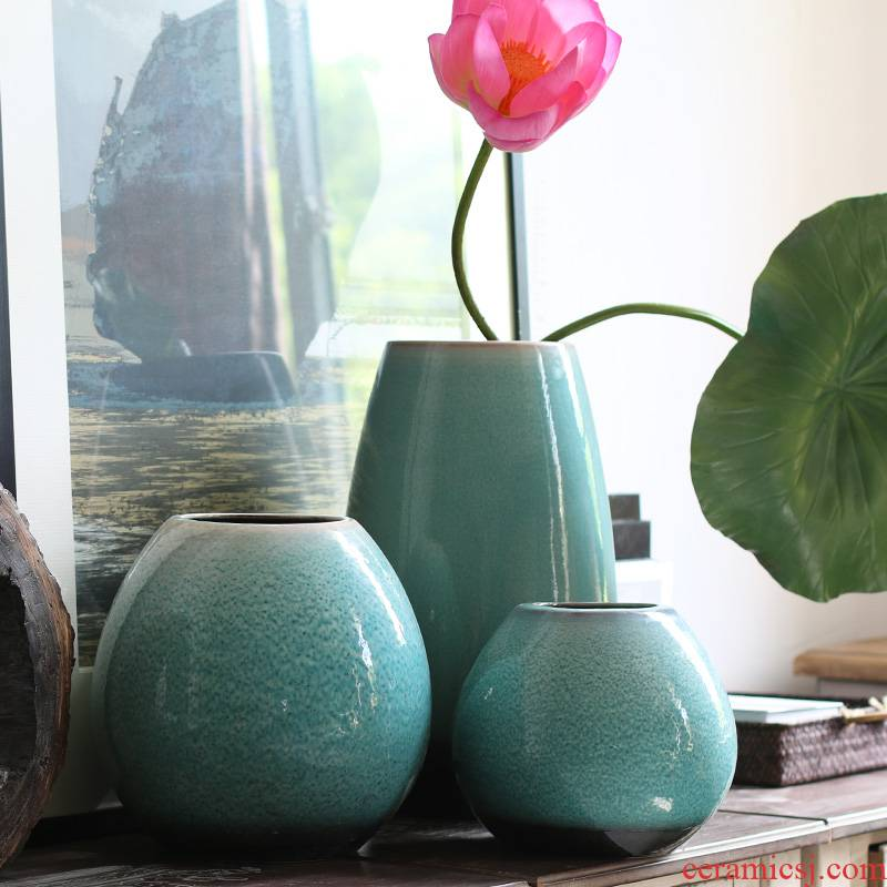 New Chinese style emerald green glaze vase model between Chinese floral clear soup WoGuo furnishing articles of jingdezhen ceramics