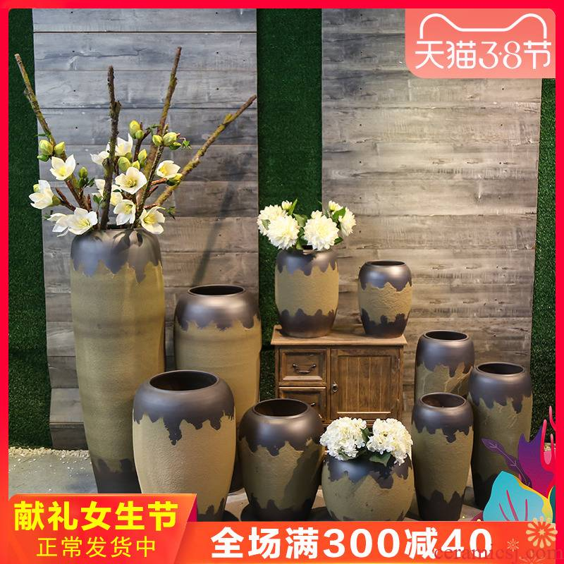 Retro nostalgia coarse some ceramic pot earthenware vase mesa ceramic flower decoration to the hotel the sitting room ground flower furnishing articles