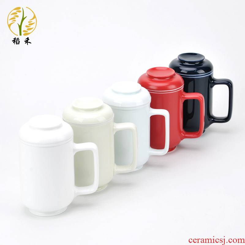 Office glass ceramic cup mark cup with cover with filter tea cups of tea cup white porcelain contracted Office cup