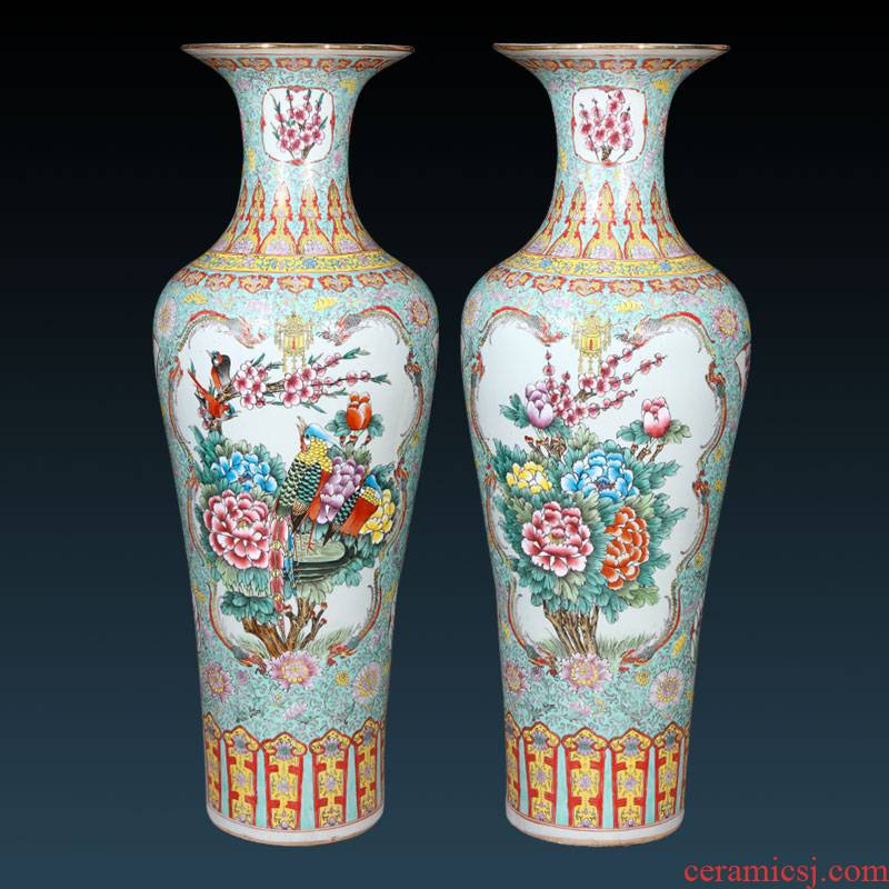 Antique hand - made jingdezhen ceramics powder enamel vase of large sitting room porch TV ark adornment furnishing articles
