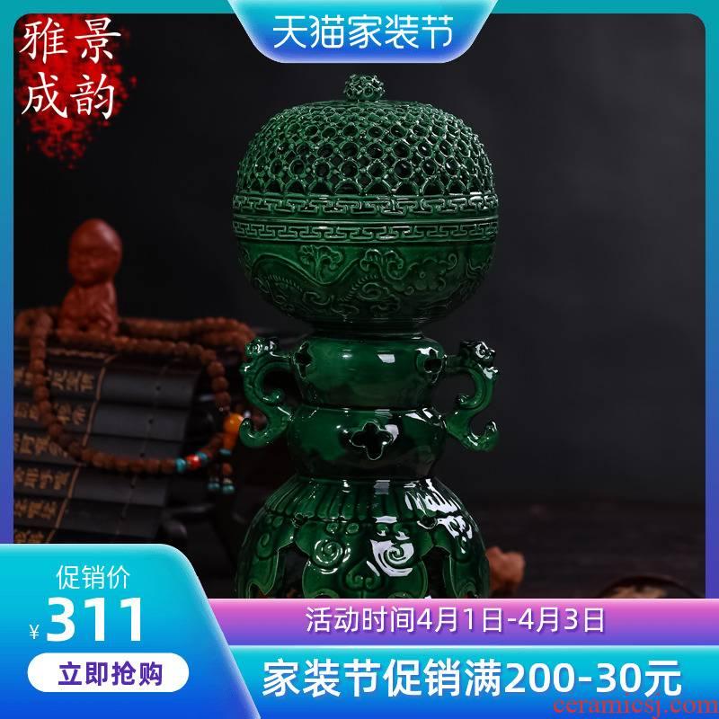 Jingdezhen ceramics incense buner buddhist supplies Chinese desktop ornaments sitting room place manual arts and crafts
