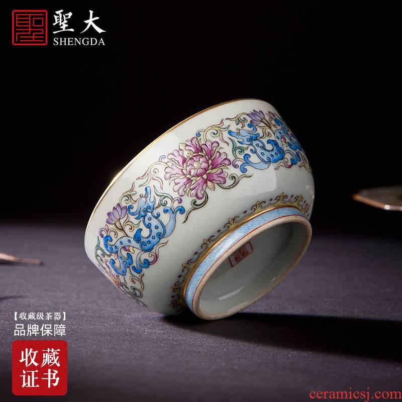 Holy big blue and white landscape colored enamel teacups hand - made ceramic kungfu longnu wear pattern glass of jingdezhen tea service master