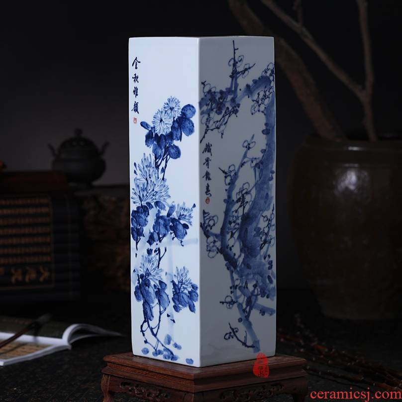 Famous master of jingdezhen ceramics blue - and - white hand - made by patterns square vase flowers sitting room place the study