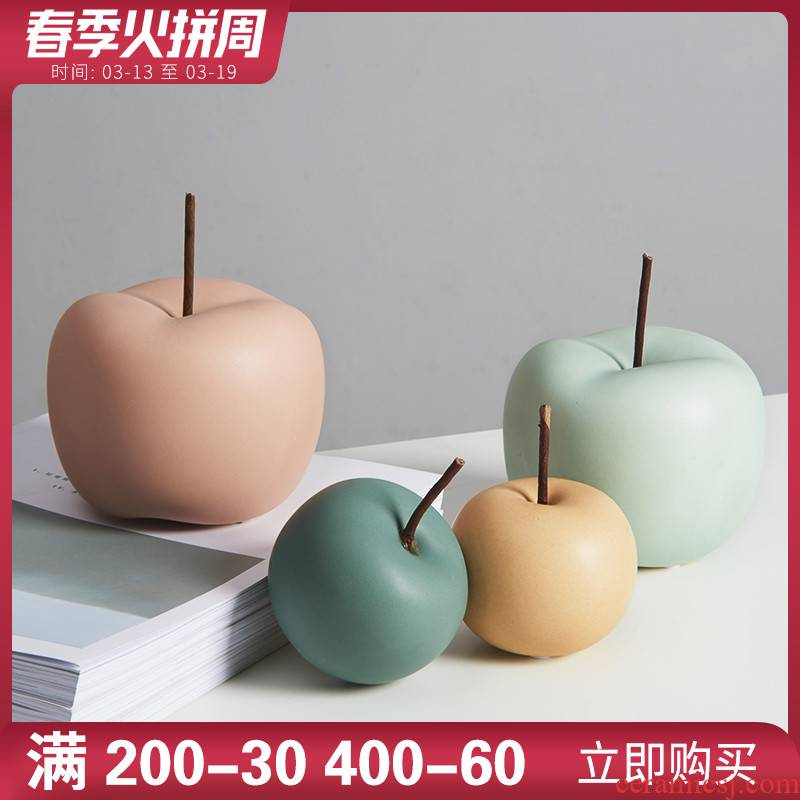 Nordic ins wind small ceramic apple furnishing articles household act the role ofing is tasted fresh creative office sitting room adornment ornament