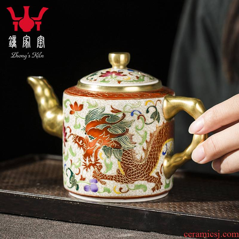 Clock home up wire inlay enamel teapot single pot of jingdezhen enamel kirin teapot small household kung fu tea pot