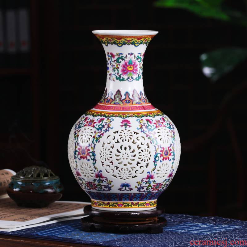 Porcelain of jingdezhen ceramics vase furnishing articles child thin body double hollow out flower arranging classical Chinese style decoration decoration